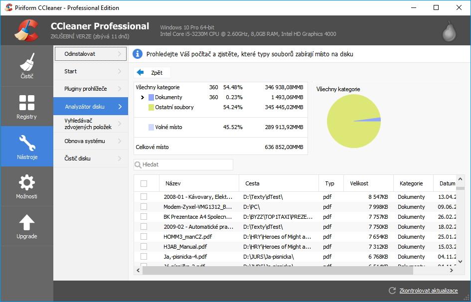 CCleaner Professional snadno zjistí, co zabírá nejvíc místa na disku