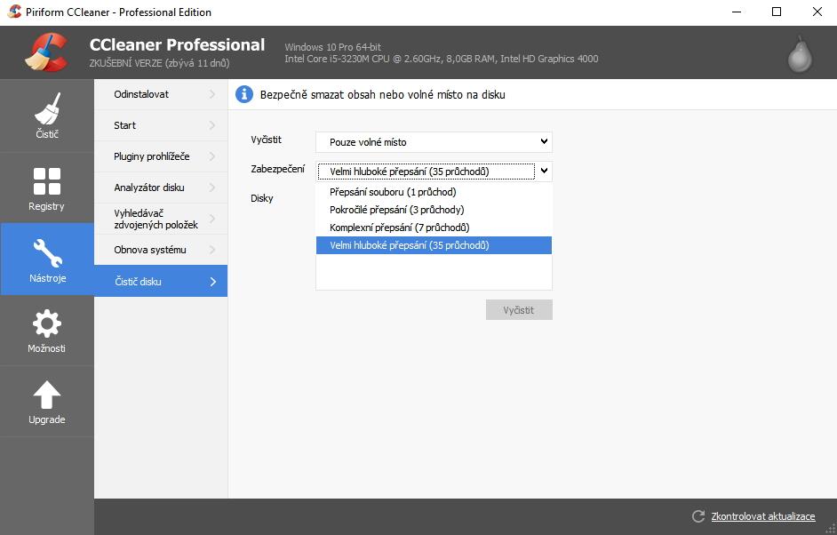 CCleaner Professional: bezpeèné promázání provede 35 pøepisù promazávaného prostoru