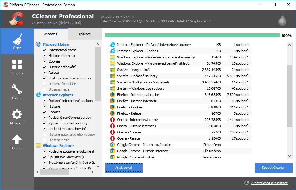 CCleaner Professional: analýza proběhne rychle všemi spravovanými aplikacemi