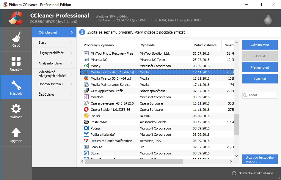 CCleaner Professional: odinstalace nabídne odstranění systémových aplikací Windows 10