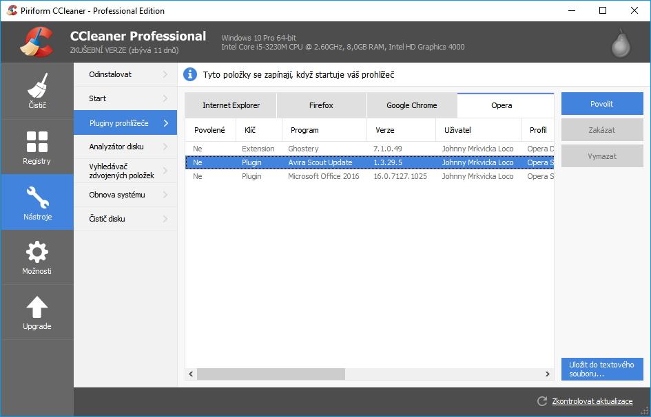 CCleaner Professional: zobrazí i jinak nezobrazované pluginy prohlížeèù