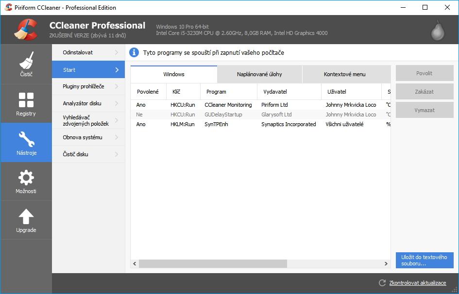 CCleaner Professional: Startem upravíme různé položky ovlivňující rychlost spuštění systému