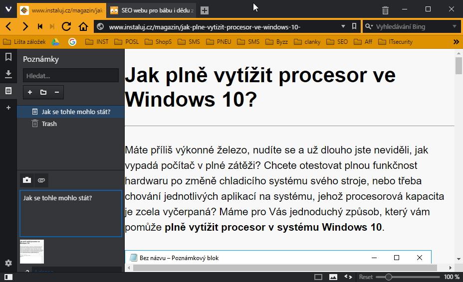 Do poznámek prohlížeče Vivaldi lze nyní přímo vložit snímek obrazovky