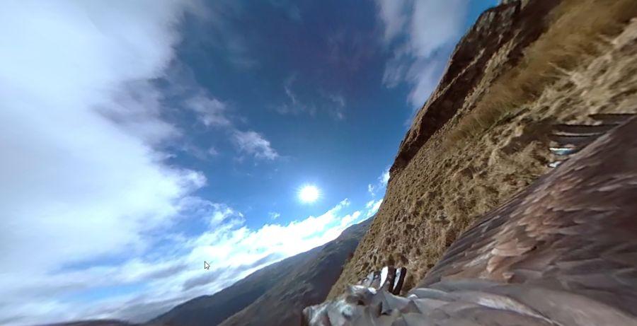 Záběr ze sférického videa s orlem