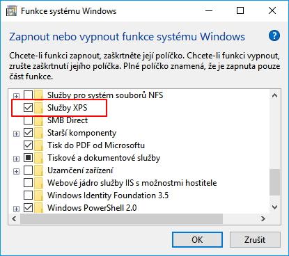 Služby XPS najdeme mezi Funkcemi systému Windows