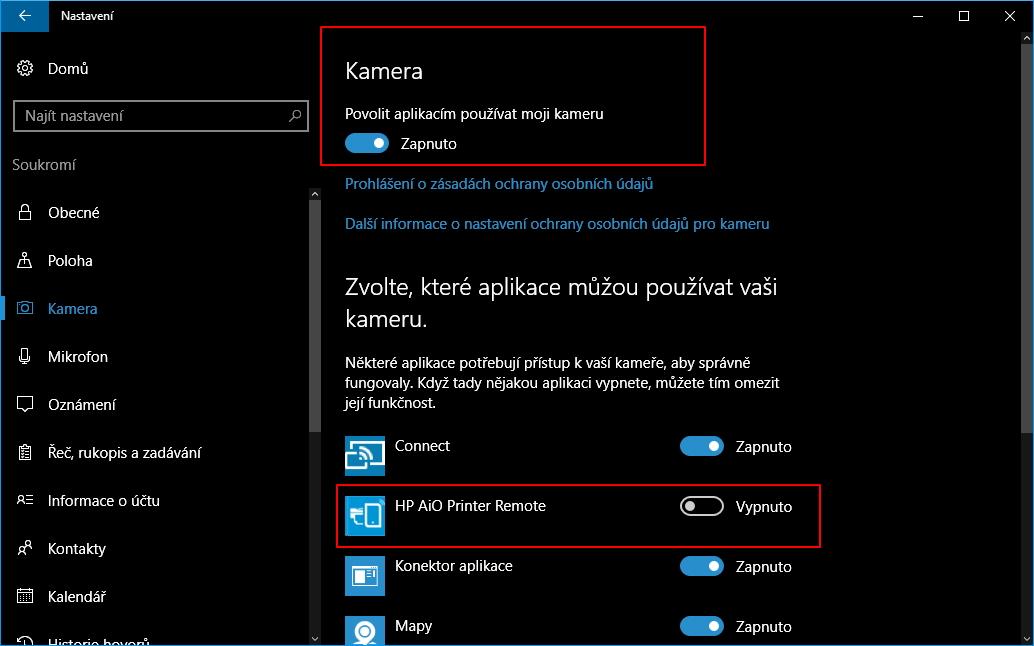 Možnosti úprav přístupu aplikací k webkameře pomocí systémové aplikace Nastavení