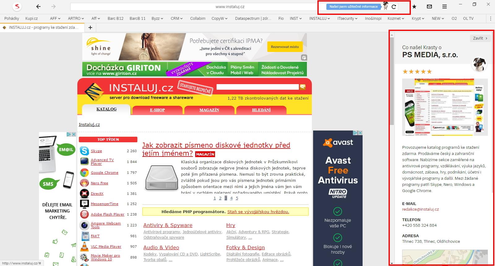 Pejsek Krasty rovnou servíruje podstatné informace daného webu - kontakty, souvislosti, překlady...