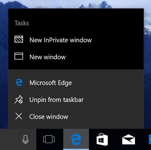 Jump list Microsoft Edge zatím získal jen základní funkce