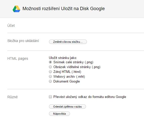 Možnosti Save to Google určují, jak bude nakládáno s obsahem, který je zobrazen coby webová stránka
