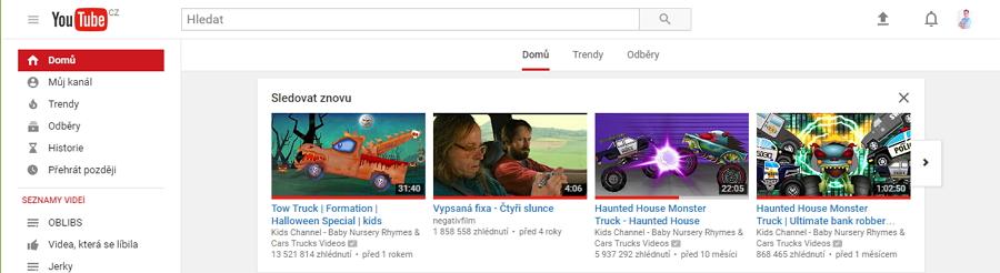 YouTube v aktuální podobě - bílý