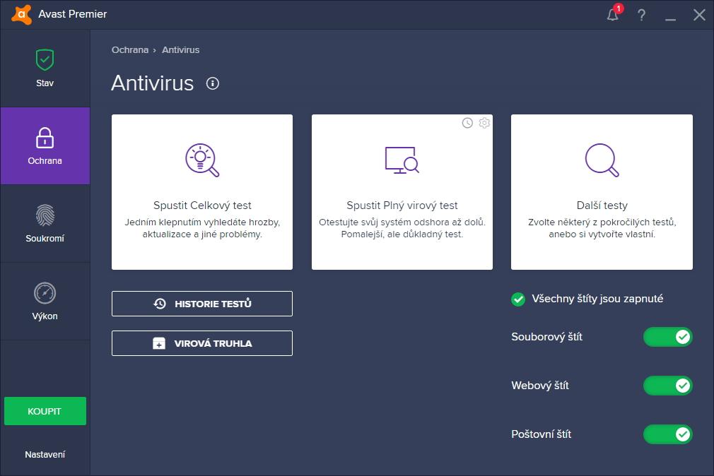 Avast Premier: už po druhé obrazovce je jasné, že vývojáři rozhraní se soustředili na maximální přehlednost programu