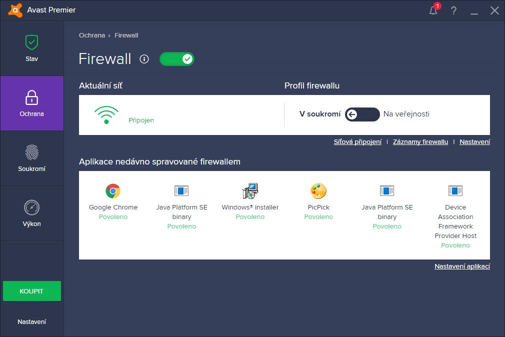 Avast Premier: dokonce i Firewall může být udělán přehledně