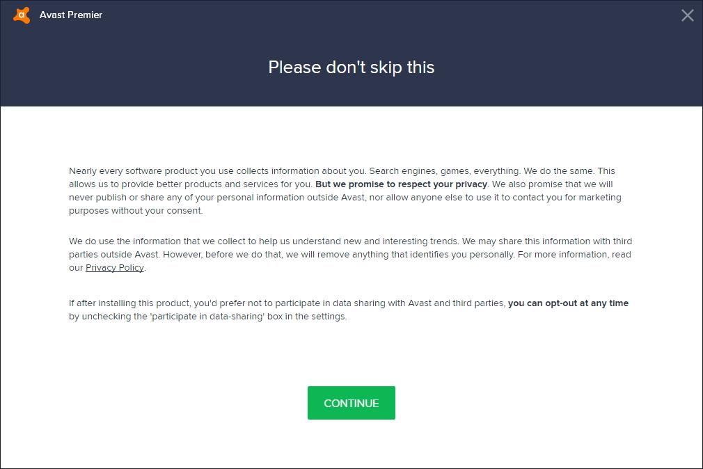 Avast nejenže upozorní na to, že sbírá data, ale pokusí se i nastínit, proč to dělá