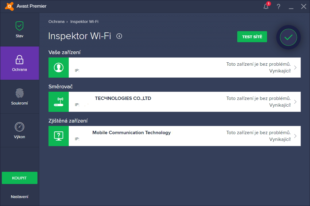Avast Premier: Inspektor Wi-Fi okamžitě zjistí, co všechno je připojeno k místní síti