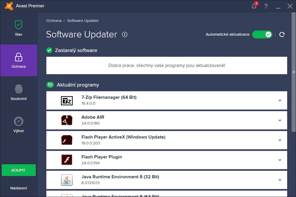 Software Updater patrně počítá jen s programy kritickými z hlediska zabezpečení