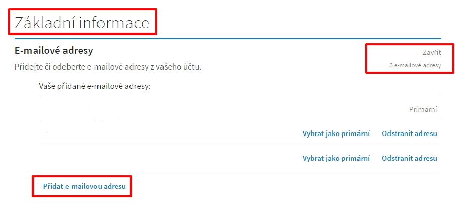 Nastavení - Základní informace - Emailové adresy - Změnit - Přidat e-mailovou adresu