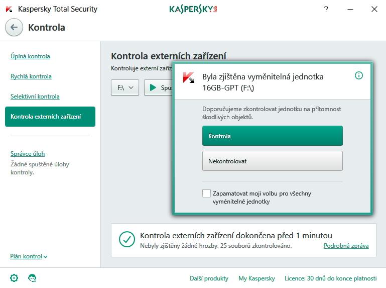 On-demand sken se automaticky nabídne při vložení USB