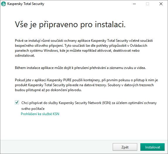 Kaspersky Total Security se zapojením uživatele do cloudové sítě nedělá okolky