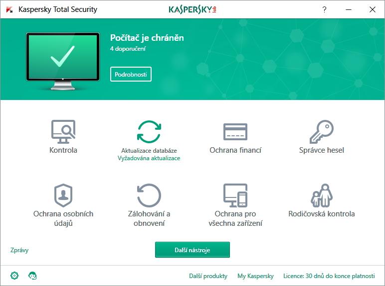 Výchozí rozhraní Kaspersky Total Security