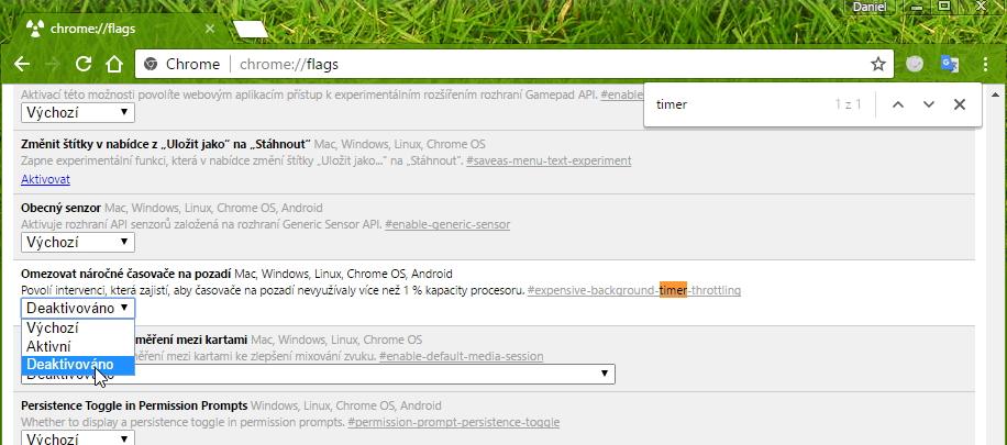 Pro zákaz fičury ve všech instancích Google Chrome upravíme položku Omezovat náročné časovače na pozadí v pokročilých nastaveních prohlížeče