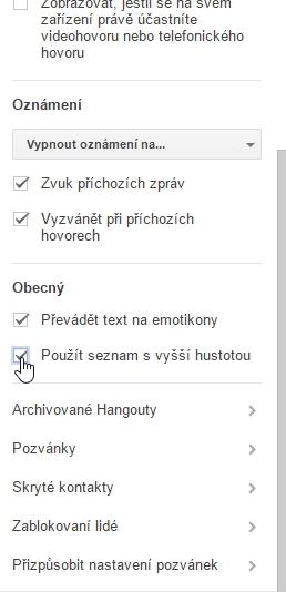 Vzhled GTalku v Hangouts docílíme pomocí Nastavení - Obecný - Použít seznam s vyšší hustotou