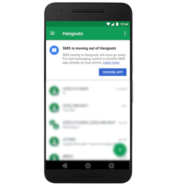 Uživatelům Hangouts bude postupně doručováno oznámení o ukončení integrace SMS v aplikaci
