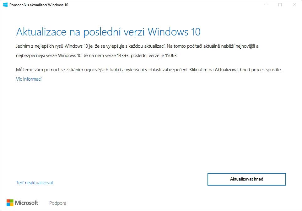 Pomocník s aktualizací Windows 10 již nyní nabízí nové povýšení Creators Update