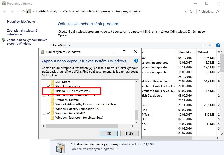 Zapnutí funkce Microsoft Print to PDF najdeme v Ovládací panely - Programy a funkce - Zapnout nebo vypnout funkce systému Windows - Tisk do PDF od Microsoftu