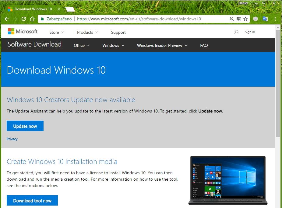 Aktuální, oficiální verze Windows 10 Upgrade Assistant je k nalezení v sekci Software Download na webu Microsoftu