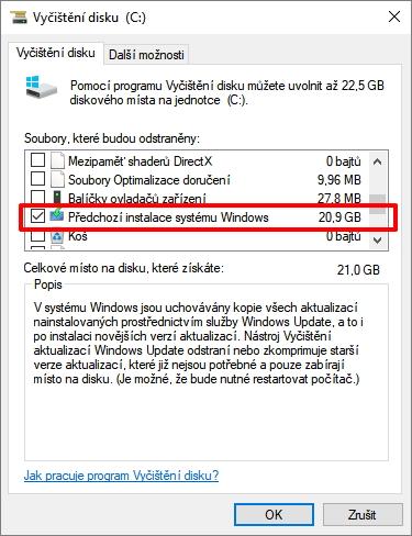 V systémových souborech najdeme mimo jiné položky Předchozí instalace systému Windows a Dočasné instalační soubory systému Windows, které dáme odstranit