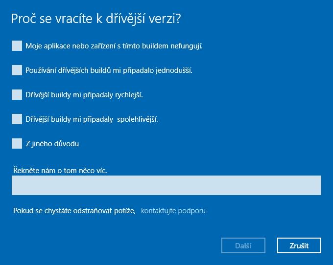 Microsoft ze všeho nejdřív zajímá, Proč se vracíte k dřívější verzi Windows?