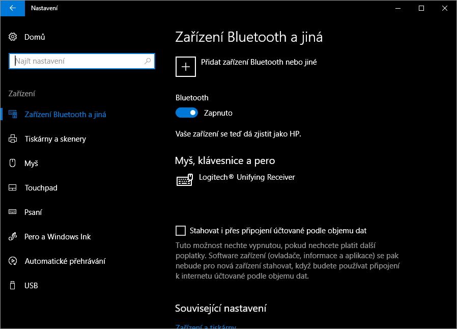 Nejprve musíme spárovat zařízení: Nastavení - Zařízení - Zařízení Bluetooth a jiná - Přidat zařízení Bluetooth nebo jiné