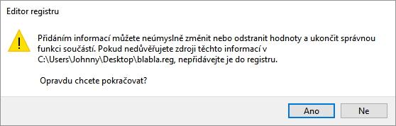 Editor registru bude chtít potvrdit, že se pokoušíte upravit systémový registr