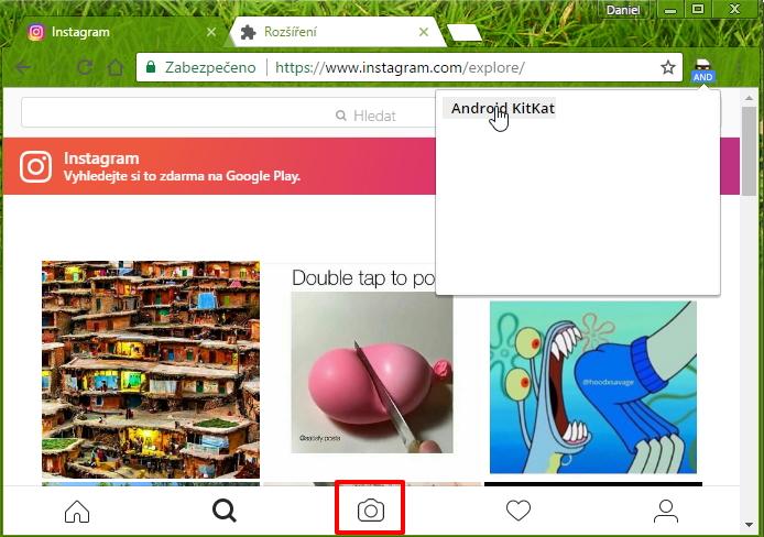 Instagram umožní nahrávání fotek, pokud se prohlížeč identifikuje coby mobilní...