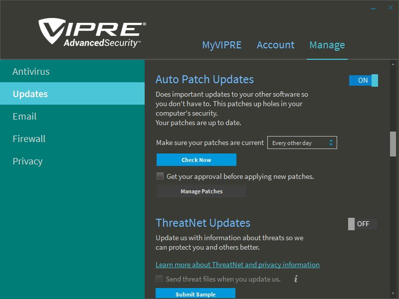 Aktualizace spojuje virové databáze a povyšování programu s odesíláním informací do VIPRE ThreatNet