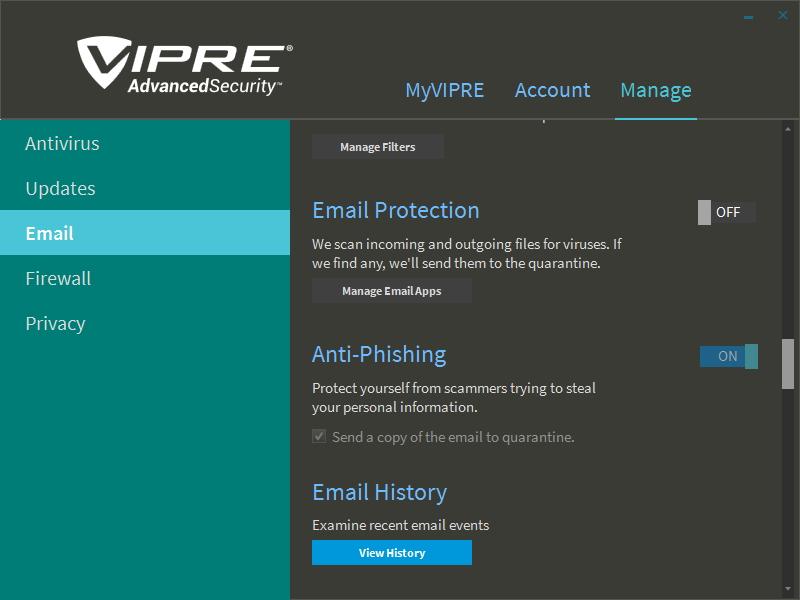Emailové ochrany VIPRE Internet Security je bez desktopového klienta možno vypnout