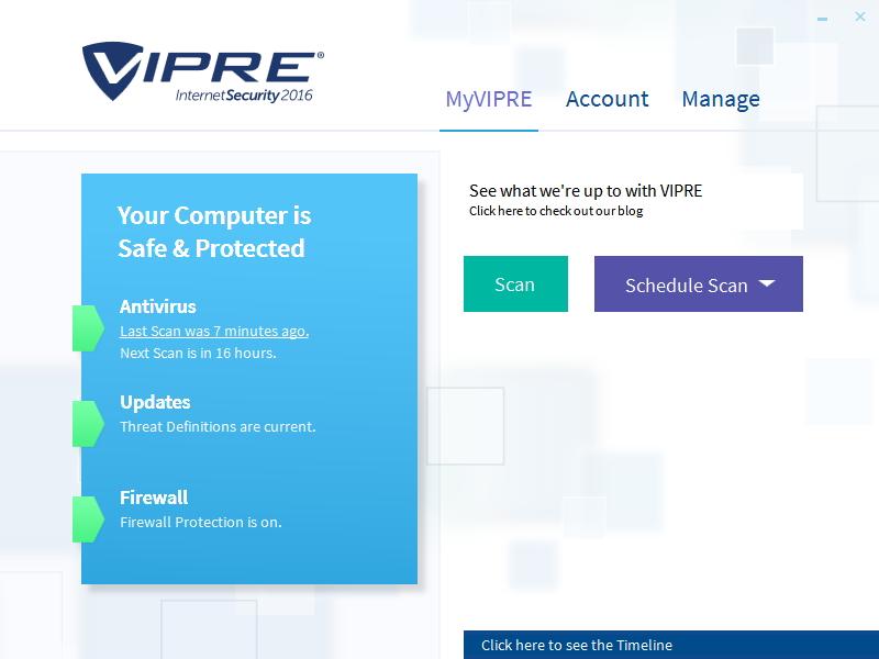Uživatelské rozhraní VIPRE Internet Security je velmi jednoduché