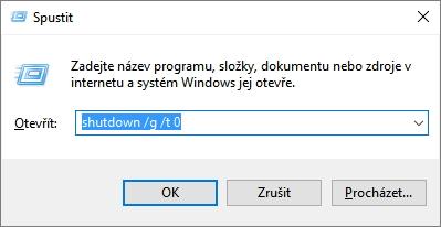 V Spustit (Win + R) zadáme příkaz shutdown /g /t 0 a systém restartuje včetně registrovaných aplikací
