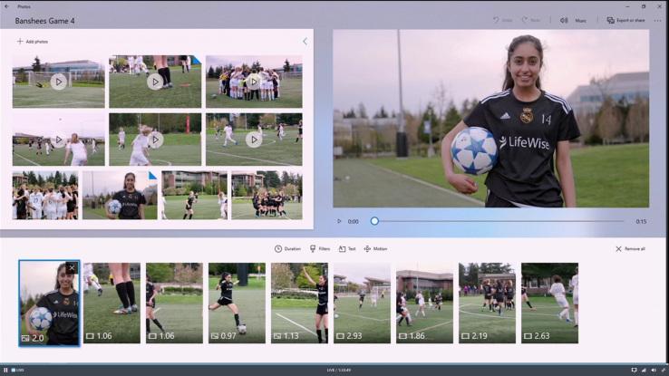 Windows Story Remix snadno identifikuje aktéry a časovou linku jednoho příběhu napříč fotografiemi a videi