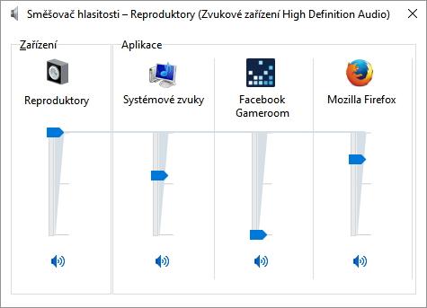 Směšovač hlasitosti umí individuálně nastavit hlasitost aplikací již nyní, ty z řádu univerzálních však zatím chybí