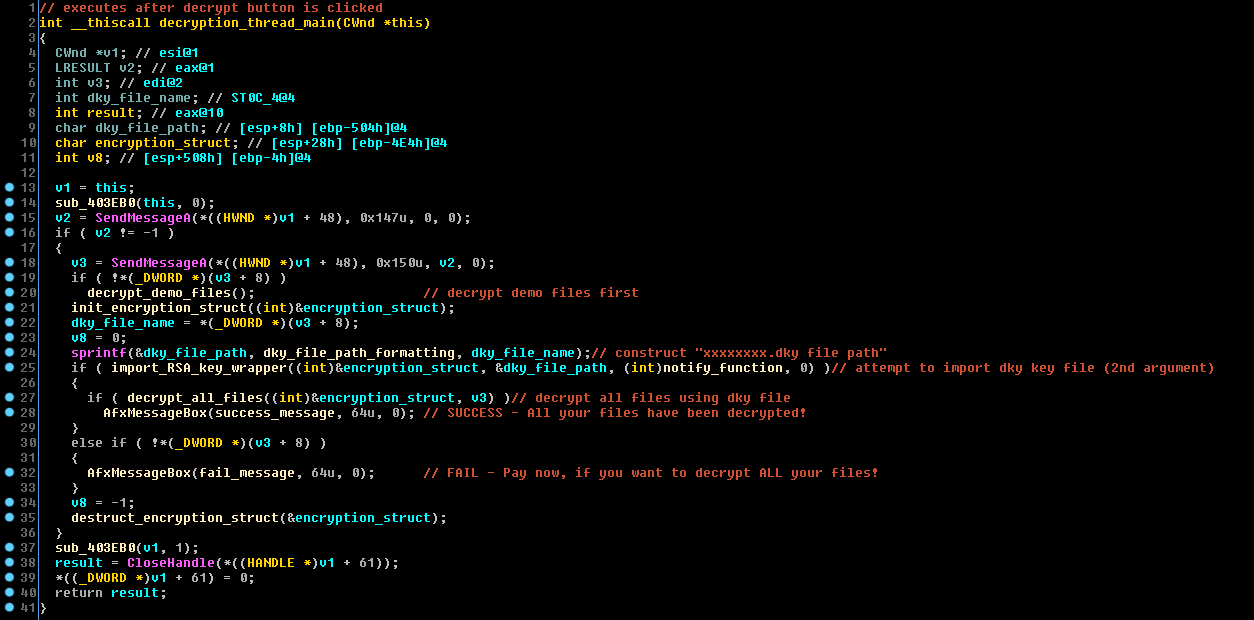 WannaCry poskytuje obětem demo dešifrování - jeho dešifrovací klíče ukládá lokálně na disku oběti (Zdroj: CheckPoint.com)
