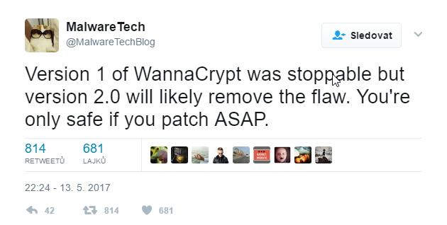 MalwareTech varuje, že druhou verzi už nemusí zpomalit žádná šťastná náhoda...