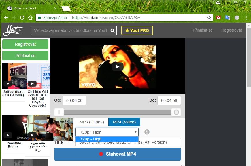 Yout.com nabízí upravení názvu skladby, interpreta a bitrate či rozlišení dle druhu stahovaného souboru