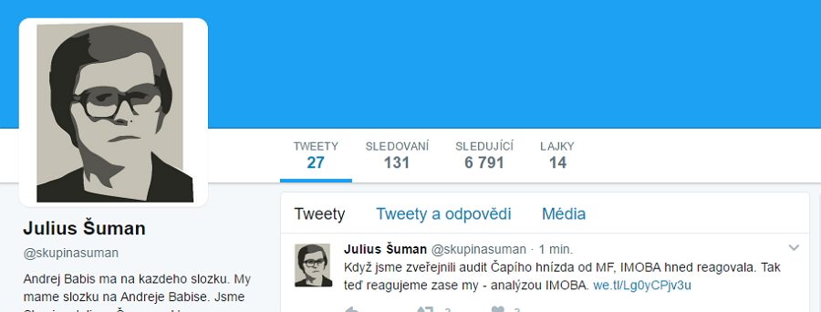 Prezentace Skupiny Juliuse Šumana na Twitteru