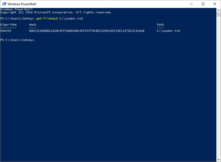 Hash souboru získáme pomocí Windows PowerShell a Get-FileHash