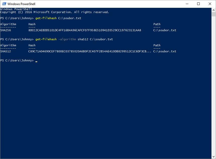 Pokud chceme hash jiný než SHA-256, je třeba použít parametr -algorithm