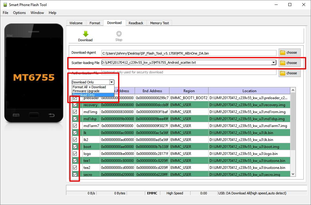 SPFT: spustíme, natáhneme soubor *scatter.txt, vybereme partitiony a způsob provedení - dáme Download