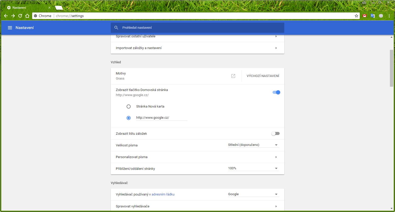 Nastavení Chrome v podobě Material design
