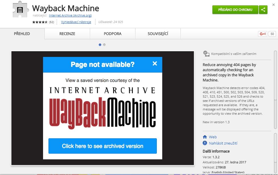 Práci s Wayback Machine si výrazně usnadníme instalací příslušného doplňku