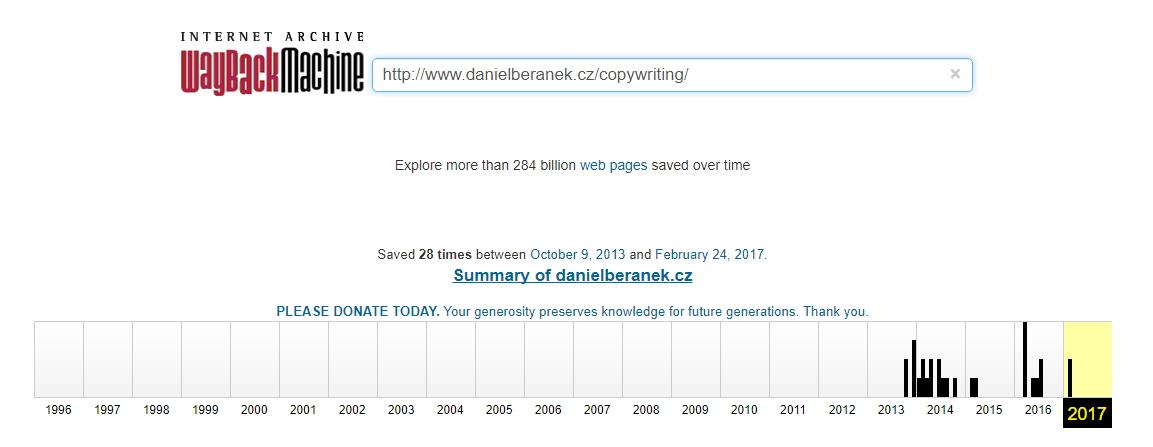 Internet Archive disponuje obrovitánskou digitálních knihoven většiny kdy existujících webů